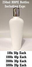 Empty 250ml HDPE Tapered Oval Plain White Plastic Bottle & Chrome Screw Cap