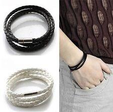 Leather Hand Braided Rope Wristband Charm Mens Black/White Bracelet Jewellery