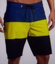 NEW VOLCOM  board shorts V4S stripe mod blue green yellow sz 28 30 32 38