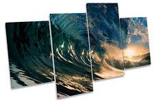 Caída de playa de Olas Surf Multi tela pared arte En Caja Enmarcado