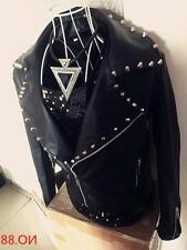 Men's Punk Rivets Studded Leather Motorcycle Jackets Suit Jacket Pants Slim Fit