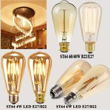E27 / B22 4W/6W/40W/60W Edison Vintage Filament Tear drop ST64 Light Lamp Bulb