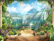 Garden Balcony Swan Lake Scenery Photography Decor Background Studio Backdrop LB