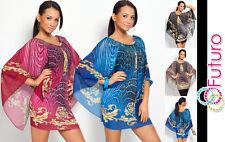 UNIQUE Exclusivo Mujer Túnica multicolores Murciélago Estilo Vestido Mini Top