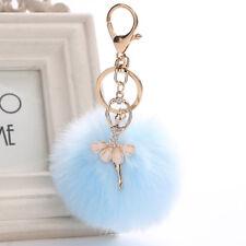 H:Hyde Women Rabbit Fur Cony Hair Ballet Dancer Nice Ball Charm Car Handbag Key
