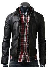 Men's Genuine Lambskin Leather Jacket Black Slim fit Motorcycle jacket MJ330