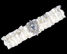 1e541b34061 Ivory Cream Satin   Rhinestone Wedding Prom Garter Standard Plus Size Petite