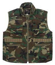 ROTHCO FISHING  WOODLAND CAMO Military 8 Pocket Tactical Ranger Vest W/Hood S-3X