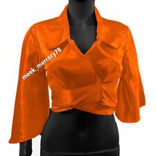 Party Wear Orange Satin long Sleeve Shirt Blouse Top Girls Shirt Casual wear S83
