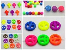 Craft DIY Mixed Fluorescent Neon Beads Acrylic Beads Rubber Tone Various Shape