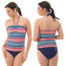 Ladies Halterneck Tankini Set Swimwear Halterneck Adjustable Strap Low Leg
