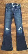 NWT HOLLISTER dark stone wash destroyed flare denim blue jeans 0 1 3 5 regular