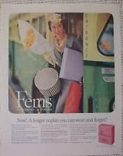 FEMS FEMININE NAPKINS WOMAN CITY BUS OLD 1959 PRINT  AD