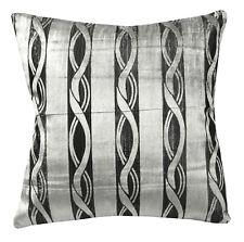 mq04a Silver Metallic Black Ash Grey Wave Shimmer Velvet Style Cushion Cover