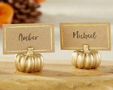 Gold Fall Autumn Pumpkin Place Card Holder Anniversary Bridal Wedding Favor