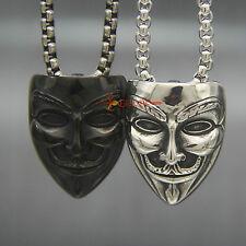 Silver/Black Guy Fawkes Mask Stainless Steel Pendant For Vendetta Gunpowder Plot