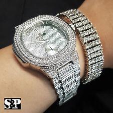 MEN'S HIP HOP WHITE GOLD PT LUXURY WATCH & LAB DIAMONDS BRACELET COMBO GIFT SET