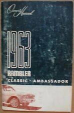 1963 Amercian Motors AMC Rambler Owners Manual