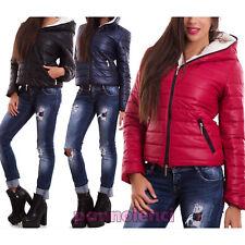 Piumino donna imbottito giubbotto cappotto cappuccio pelliccia nuovo CC-1046-1