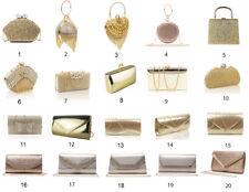 New Ladies Shiny Gold Fashion Bridal Wedding Party Clutch Handbag Evening Bags