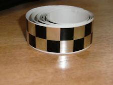Negro + Chrome Checker Cinta - 4 Pies X 1en - 2 Plazas / Chequer Stripe