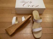 ONEX Cork Wedges/Slides/Sandals w/ 2 White Straps, 11