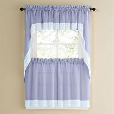 Salem Kitchen Curtain - Blue w/White Lace Trim - Lorraine Home Fashions