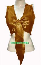 Golden - Satin Belly Dance Tie Top Sleeve Less Wrap Choli Gypsy Haut Blouse