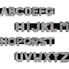 "Silver Alloy Rhinestone Alphabet Letter ""A-Z"" Slide Charm Fit 10mm Wristbands"