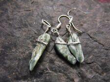 SERAPHINITE gemstone EARRINGS & PENDANT SET wicca ethnic raw druzy