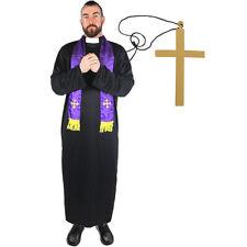 PRIEST COSTUME ADD CROSS VICAR RELIGIOUS FANCY DRESS ROBE SCARF STAG DO S M L XL