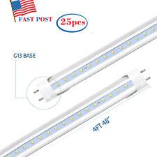 25Pcs LED T8 Fluorescent Tube Light 4ft Daylight Ballast-Free Dual-Ended Power