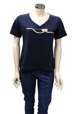 T-Shirt da donna blu Good Match Sport scollo a V manica corta casual stampata