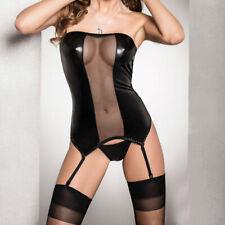 Passion Lingerie Zola Wet Look Corset Black Matching Briefs