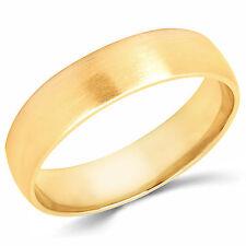 Solid 14K Yellow Gold 5mm Brush Finish Comfort Fit Men Women Wedding Band Ring