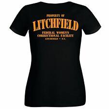 Ladies Black Property of Litchfield Correctional Facility T-Shirt Prison Convict