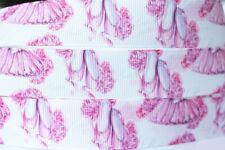 """5/10/50Y 7/8""""22mm Pink Ballet Grosgrain Cartoon Printed Pattern Ribbon Craft"""