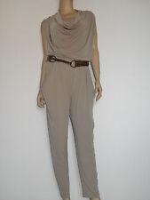Trendy Jumpsuit mit Gürtel Overall Catsuit Einteiler Lang Beige Gr. 38 40 42 44