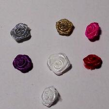 Posamenten 10 Stück Stoffrosen Satin Rosen 1 cm zum Aufnähen