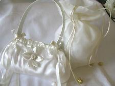Pretty ivoire & blanc main dolly sac pour Demoiselle D'Honneur Flowergirl Mariage Communion