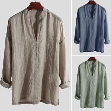 Men's Blend Long Sleeve Shirt Summer Cool Loose Casual V-Neck Shirts Tops M-2XL
