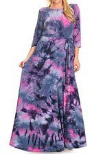 Women Plus Purple Pink Tie Dye Pocket Jersey Maxi Sweep Skirt Dress XL1X 2X 3X