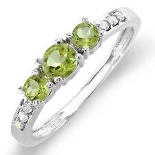 0.50 CT 10K White Gold Green Peridot & White Round Diamond Ladies 3 Stone Ring