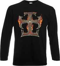 T-shirt à manches longues avec un Gothique Biker - & Tatouage Motif Modèle