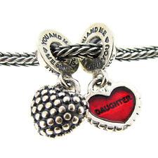 Sterling Silver Mother Daughter Me & You Heart Dangle f/ European Charm Bracelet