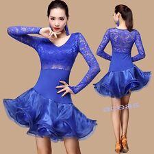 Adult Dancewear Lace Latin Dance Performance Dress Cha Cha Rumba Samba Ballroom