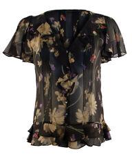 Polo Ralph Lauren Women's Short Sleeve Ruffled Floral Silk Blouse