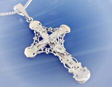 Kreuz Anhänger Silber 925 Halskette Kreuz mit Kette Sterlingsilber massiv st06