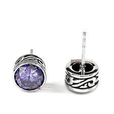 silver earrings stainless steel crystal vintage style round stud 1.25ct unisex