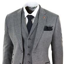 Mens 3 Piece Wool Suit Herringbone Tweed Dark Grey Formal Classic 1920s Wedding